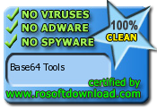 Base64 Tools 100% CLEAN Certification at RosoftDownload.com