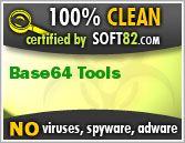 100% Clean Award For Base64 Tools by Soft82.com