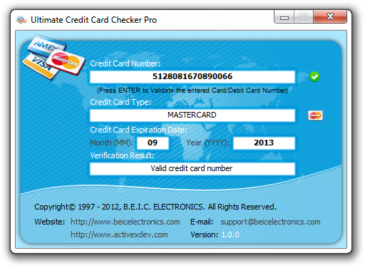 Windows 7 Ultimate Credit Card Checker Pro 1.1.0 full